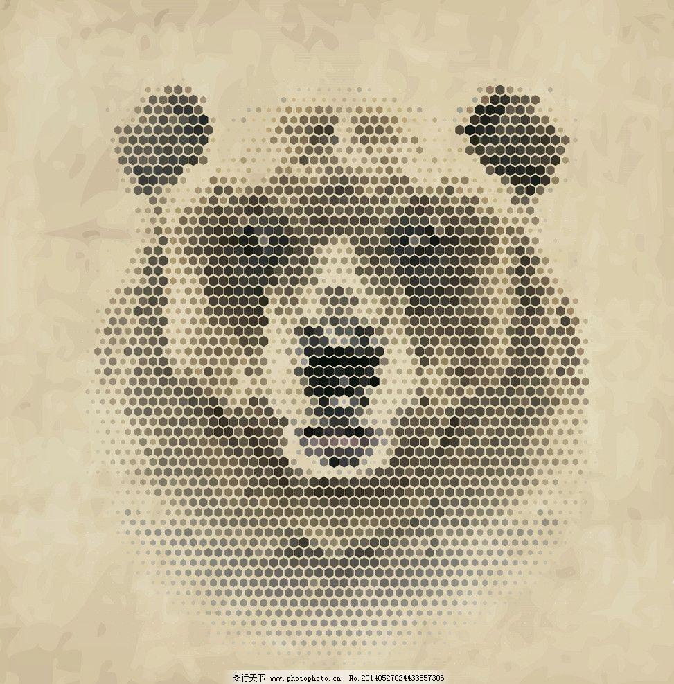 像素狗熊 像素动物 像素 像素艺术 马赛克 手绘 狗熊 像素画 创意