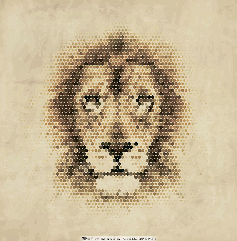 像素狮子 像素动物 像素 像素艺术 马赛克 手绘 狮子 像素画 创意