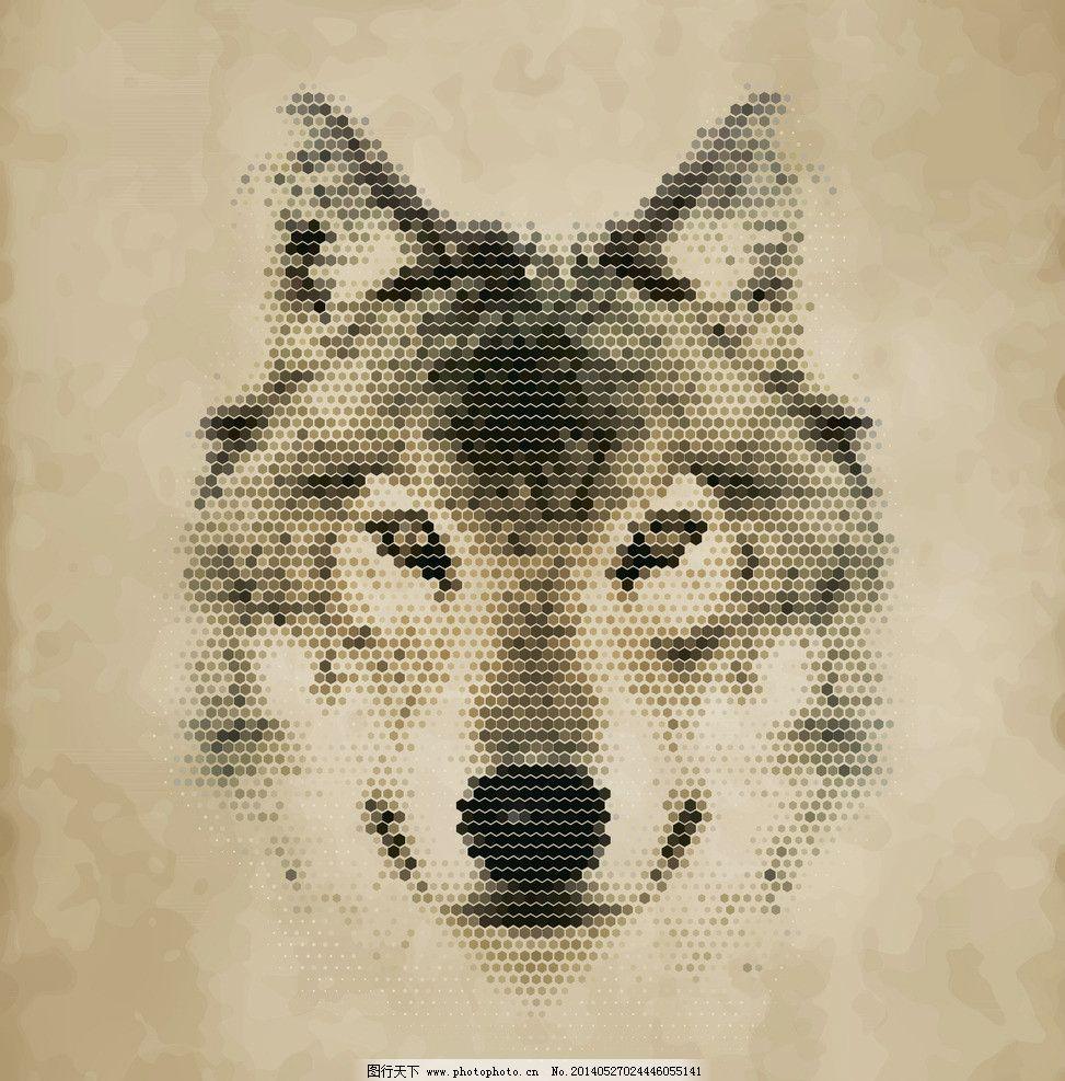 苍狼 像素动物 像素 像素艺术 马赛克 手绘 像素画 创意 矢量素材