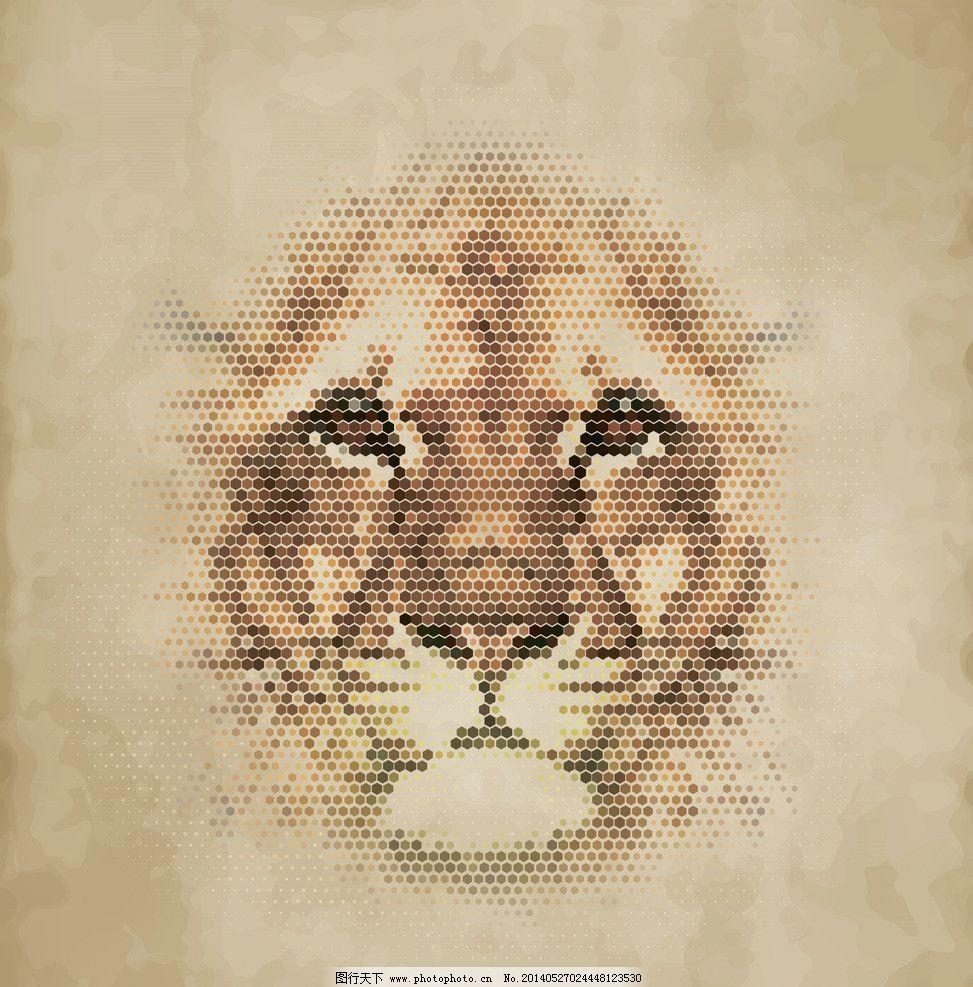 狮子 像素动物 像素 像素艺术 马赛克 手绘 像素画 创意 矢量素材