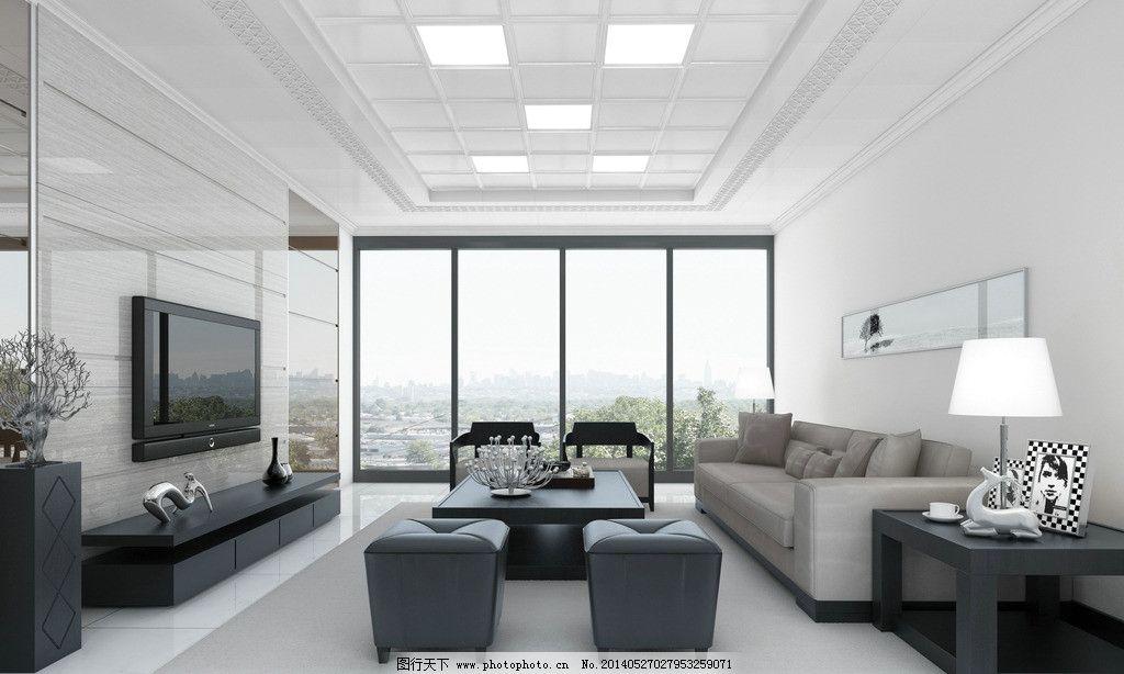 室内设计图片,极简艺术 装饰 效果图 客厅 电视墙-图