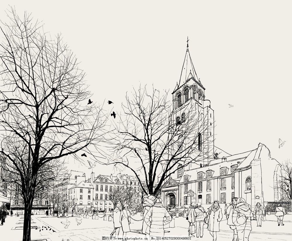 手绘建筑 素描 线描 绘画书法 建筑园林 人物 高楼大厦 欧式建筑 手绘