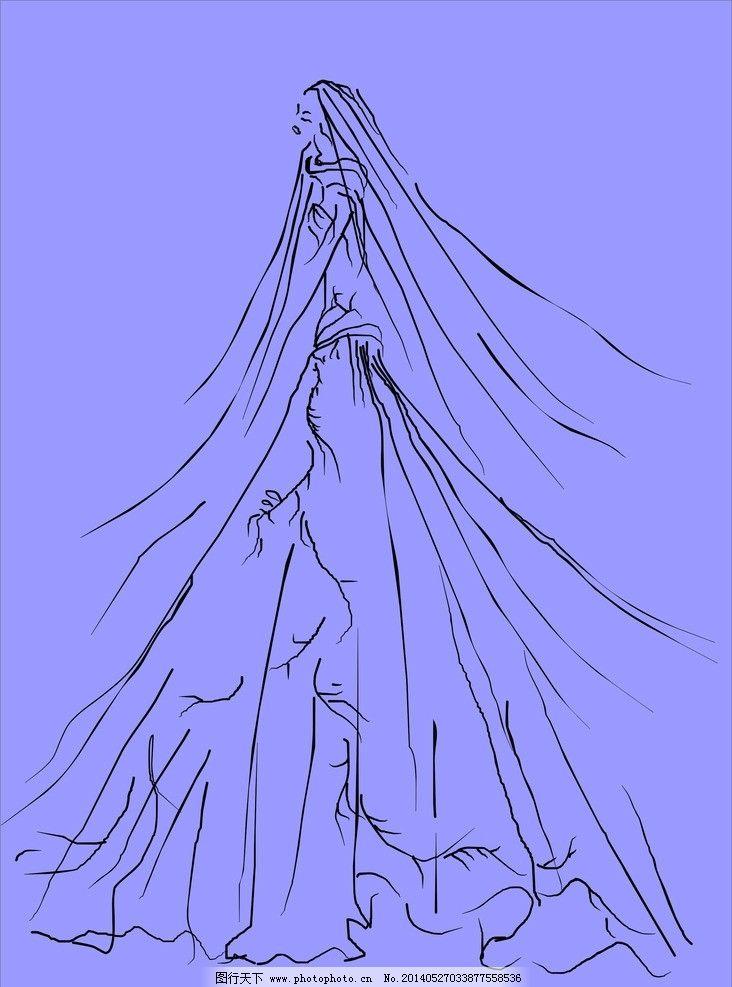 时装画 服装画 婚纱礼服 素描 美女 长裙 黑白线条美女图 服装设计