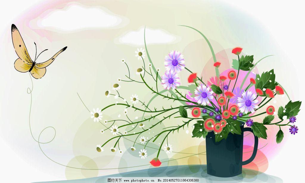 电视背景墙 蝴蝶 花朵 花瓶 梦幻手绘 蝴蝶 花瓶 花朵 绿草 水粉画