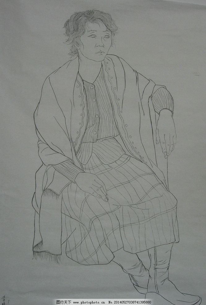 线描人物 女人 国画 黑白画 美术绘画 摄影