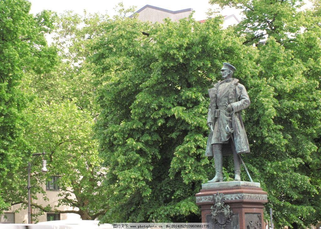 街头雕塑 德国 柏林 绿树 建筑园林 摄影