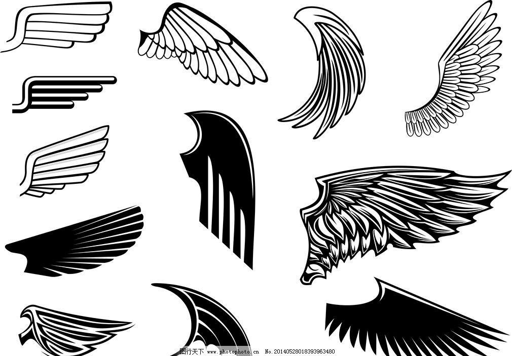 天使翅膀恶魔翅膀 纹身图案 纹身设计 欧美设计 欧美卡通 时尚背景
