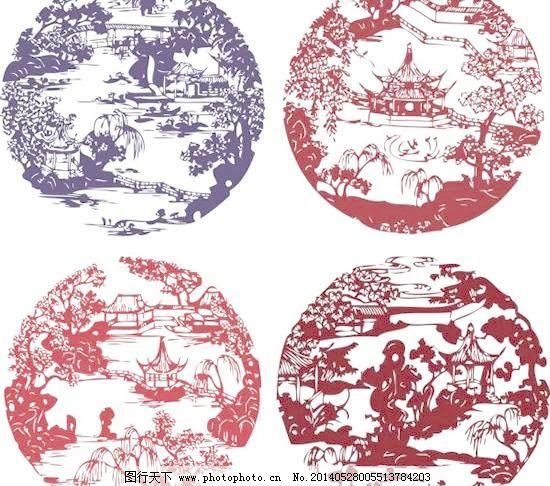 古代中式庭院窗花剪影矢量图免费下载 窗花 古代 剪影 剪纸 凉亭 树木