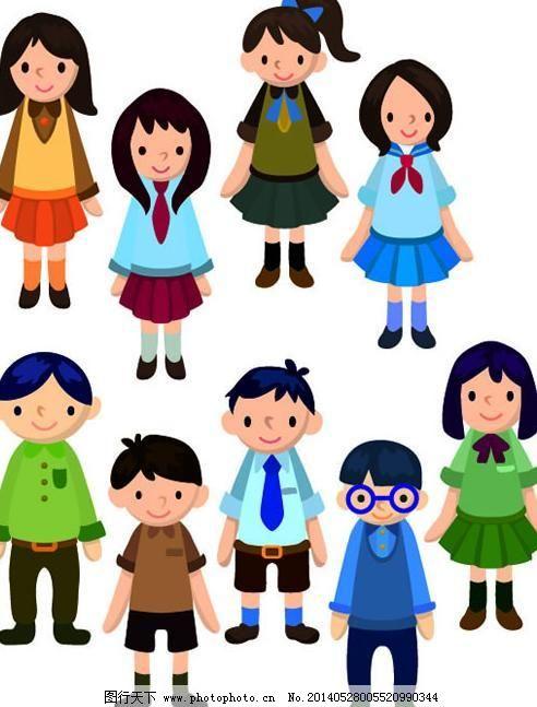 可爱学生人物形象矢量素材免费下载 卡通人物 可爱学生 男生 女生