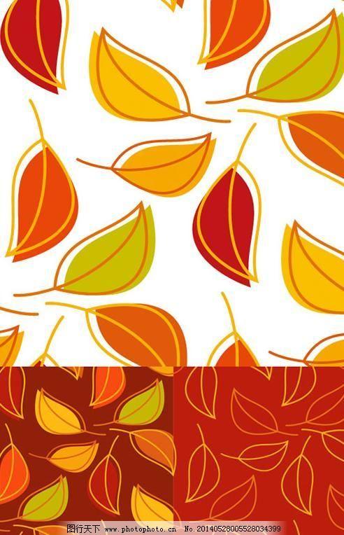 落叶背景 线稿背景 叶片 彩色树叶 线稿背景 线描叶子 叶片 落叶背景