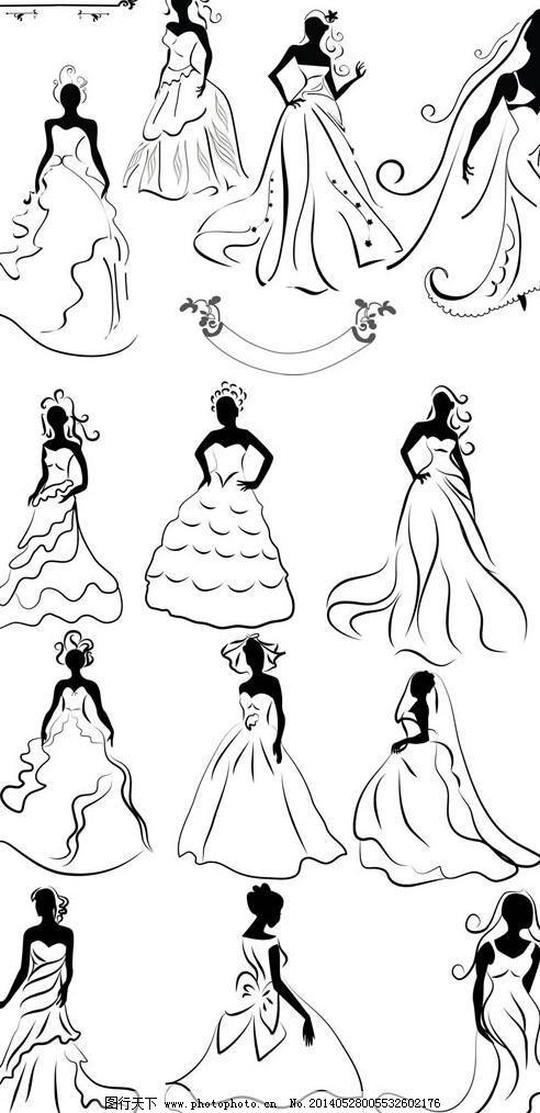 线描婚纱新娘剪影矢量素材
