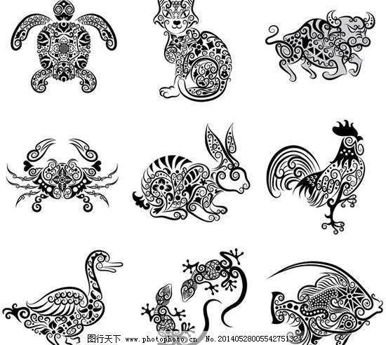 抽象动物 刺青 公鸡 花纹图案 花纹样式 剪影 猫 牛 螃蟹 手绘动物