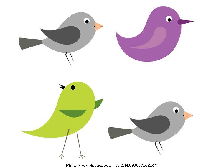 可爱卡通小鸟矢量