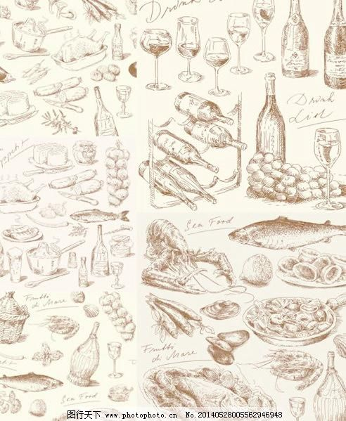 手绘食物食材矢量图