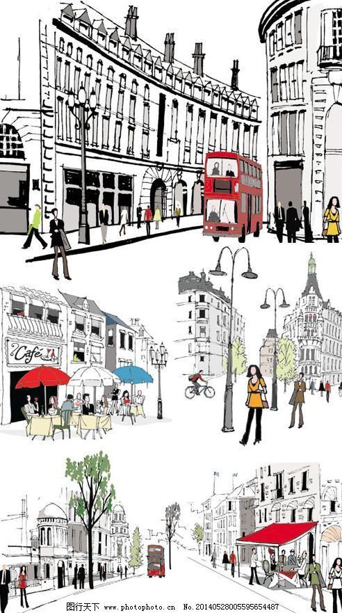 手绘城市街道景观矢量素材免费下载 彩绘插画 城市道路 路灯 欧式建筑