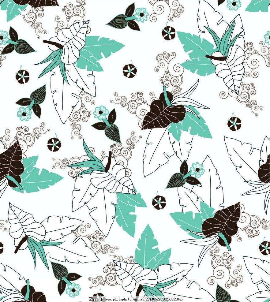 纹理 背景 树叶 花卉 植物 花草 墙纸 壁纸 四方连续 底纹背景 底纹边
