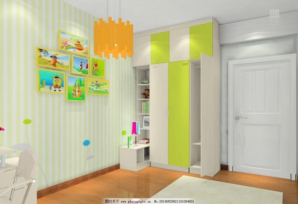 儿童房 绿色 家装效果图 背景墙 挂画 床头柜 衣柜 3d家装中式效果图