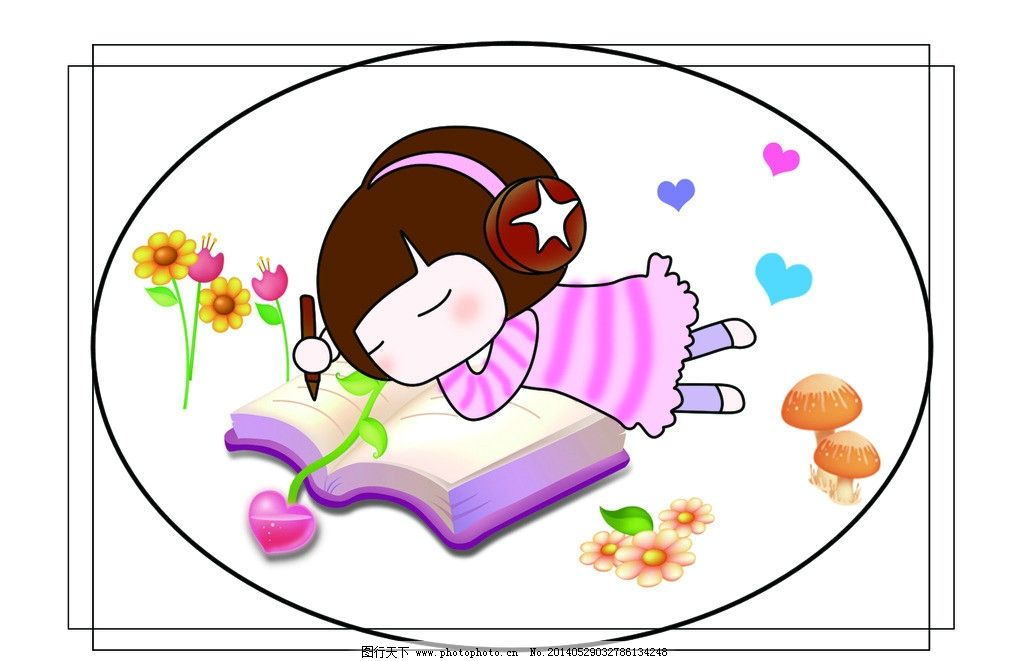 女孩 小女孩 卡通女孩 听音乐的女孩 可爱女孩 姑娘 看书的姑娘 人物