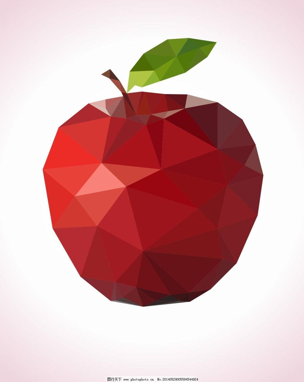 创意立体红苹果 创意立体红苹果免费下载 水果 切面 矢量图 其他矢量图片