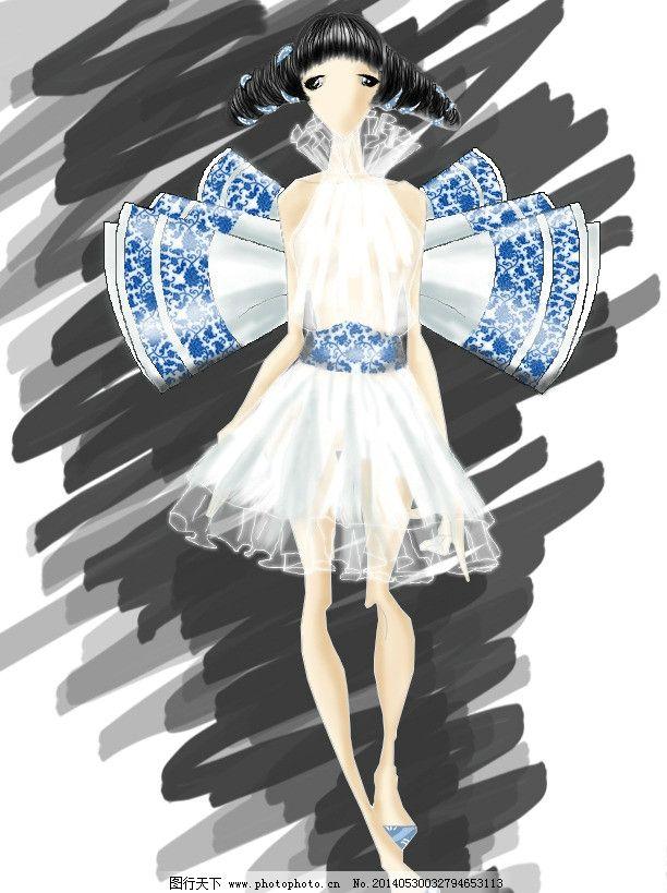 时装画 青花瓷 中国风 psd 纱裙 人物 psd分层素材 源文件 72dpi psd