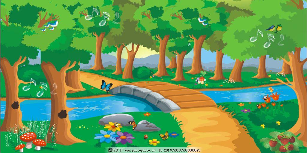 森林大树背景卡通