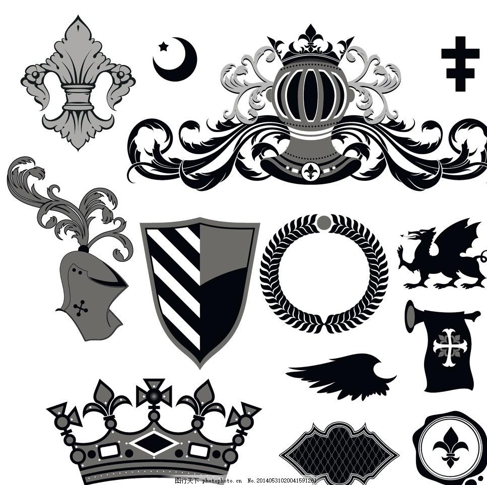皇室图标,皇家图标 盾牌 纹身纹章 纹身纹章图案 纹章