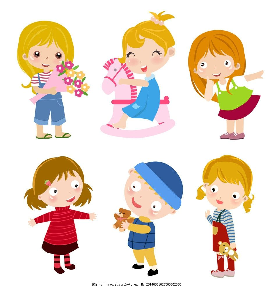 卡通儿童 卡通学生 小学生 手 手绘 家庭 一家人 卡通男孩 卡通女孩