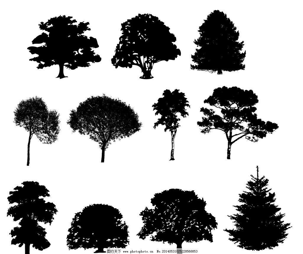 树木剪影 树木 矢量树木 卡通树木 园林 树叶 绿树 保护环境 环境保护