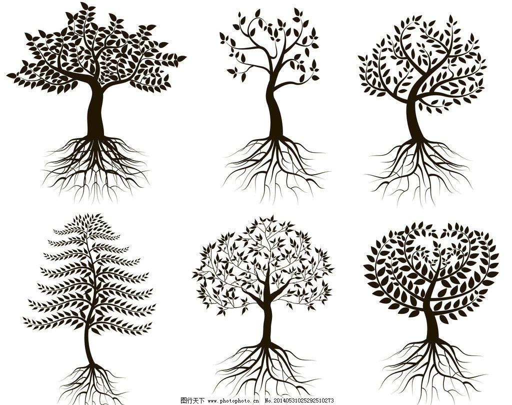 树木 矢量树木 卡通树木 园林 剪影 绿植 树叶 绿树 保护环境 环境