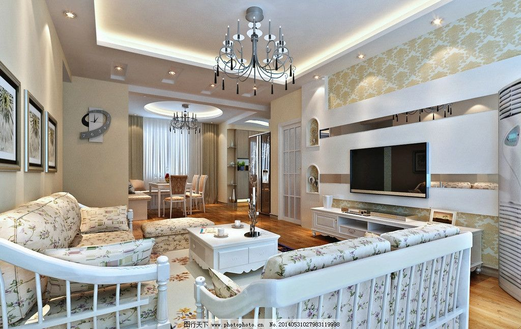 田园客厅风效果图 田园 室内 装修        装潢 室内设计 环境设计