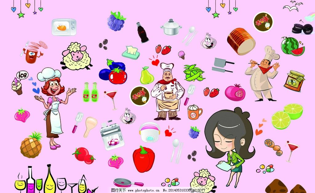 厨房漫画香香羊 香香羊 厨房卡通 卡通 可爱 粉色 小女孩 厨师 漫画 p