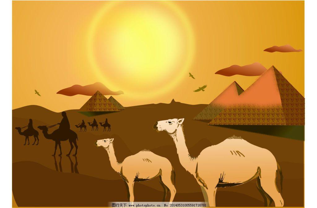 骆驼免费下载 金字塔 骆驼 沙漠 骆驼 金字塔 沙漠 矢量图 其他矢量图
