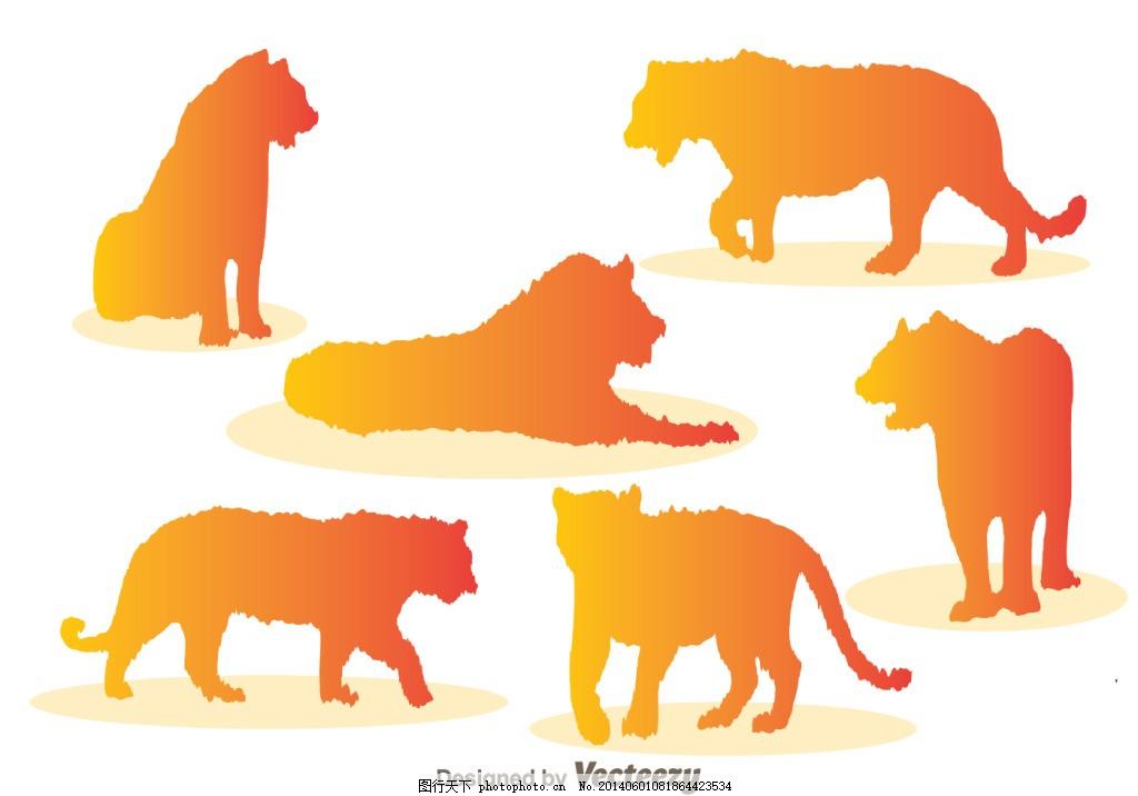 动物设计图 矢量图 彩色 橙色 白色