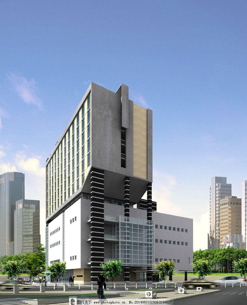 办公楼效果图 写字楼 建筑表现 大厦 建筑效果 办公楼建筑表现