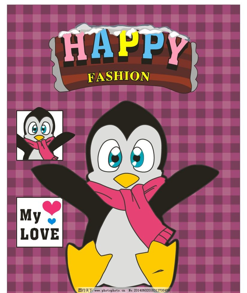小企鹅 卡通形象 儿童 卡通图案 卡通花纹 图案设计 图案 可爱动物