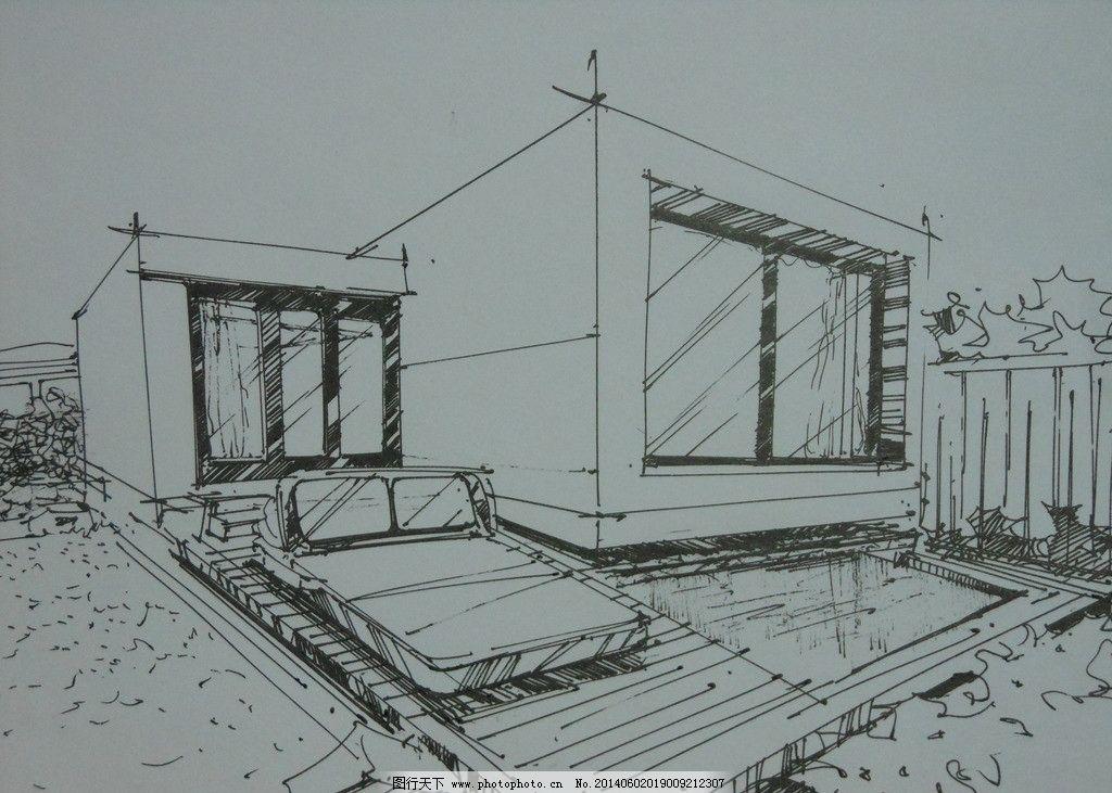 别墅 室外 手绘 艺术 设计 绘画书法 文化艺术 300dpi jpg