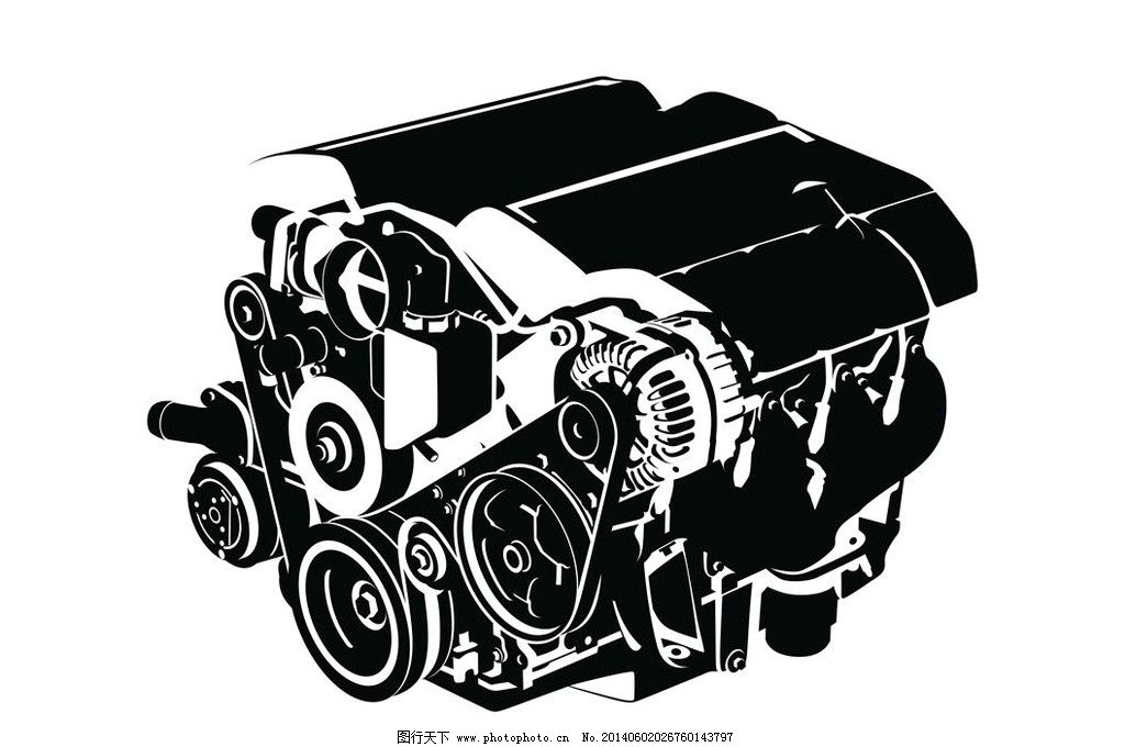 汽车引擎发动机 汽车部件 汽车零件 汽车发动机 机械 机械结构