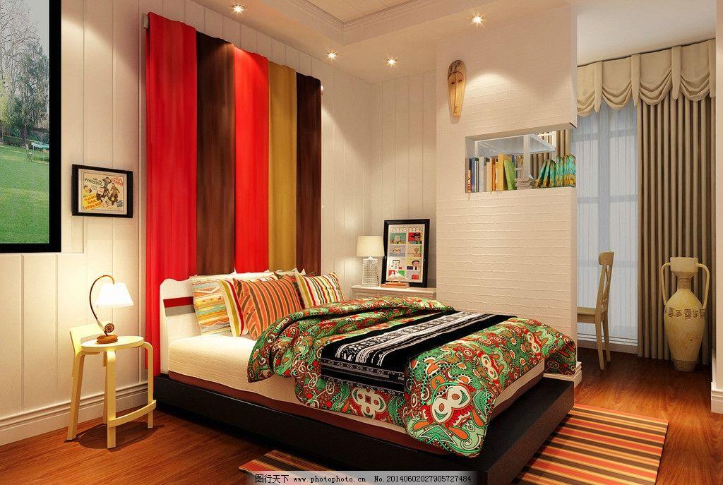 北欧卧室 北欧 简约 时尚      布艺 室内设计 环境设计 设计 300dpi