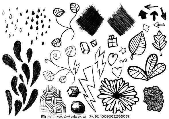 手绘雨滴和植物