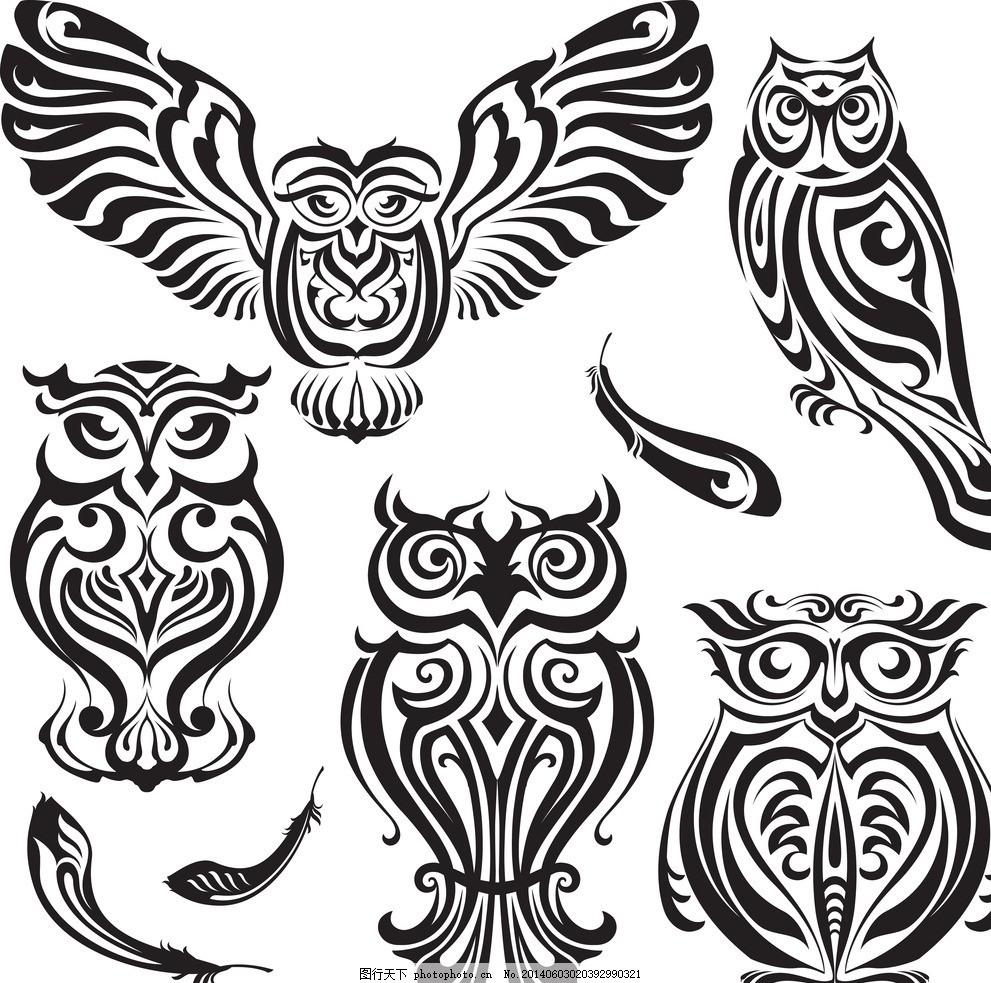 纹身设计 纹身图案 t恤图案 翅膀 猫头鹰 图腾 恐怖元素 手绘 欧美