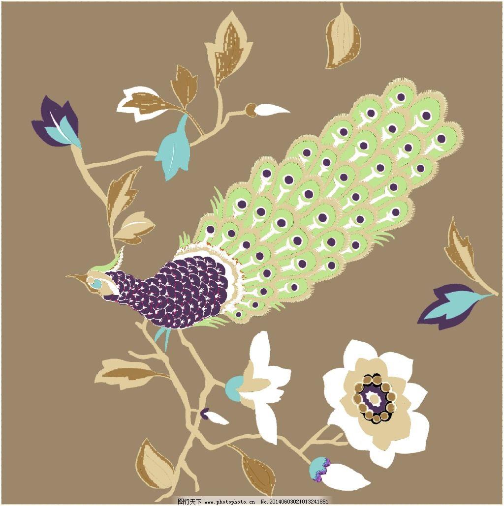 孔雀免费下载 动物 平面 植物 平面 植物 动物 图片素材 底纹边框