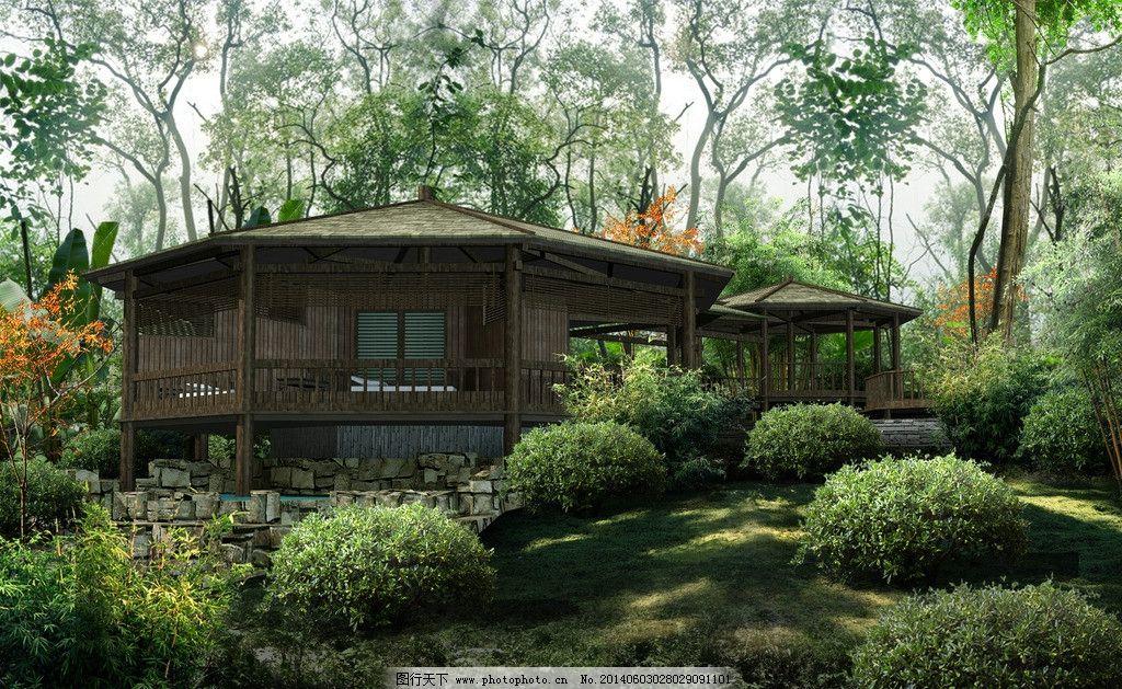 温泉服务中心 温泉 泡池 森林 服务 配套 建筑设计 环境设计 设计 72