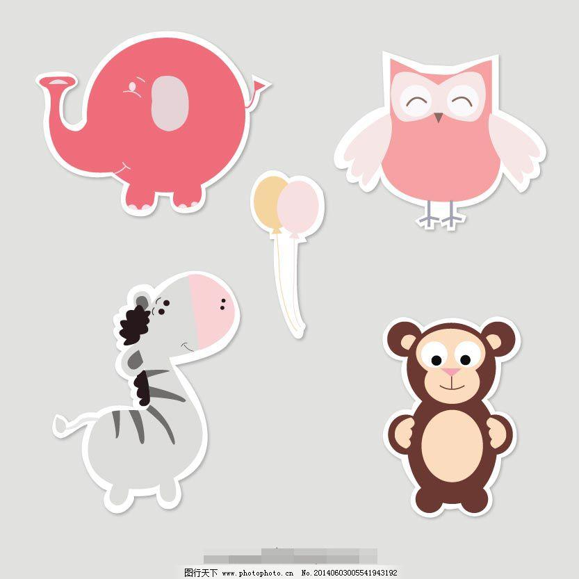 可爱的小动物免费下载 大象 动物 卡通 动物 大象 卡通 矢量图 其他