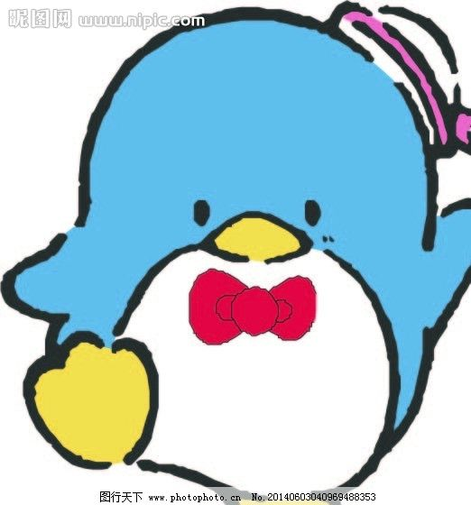 卡通 可爱 企鹅 蝴蝶结 帽子 可爱卡通图案 儿童幼儿 矢量人物