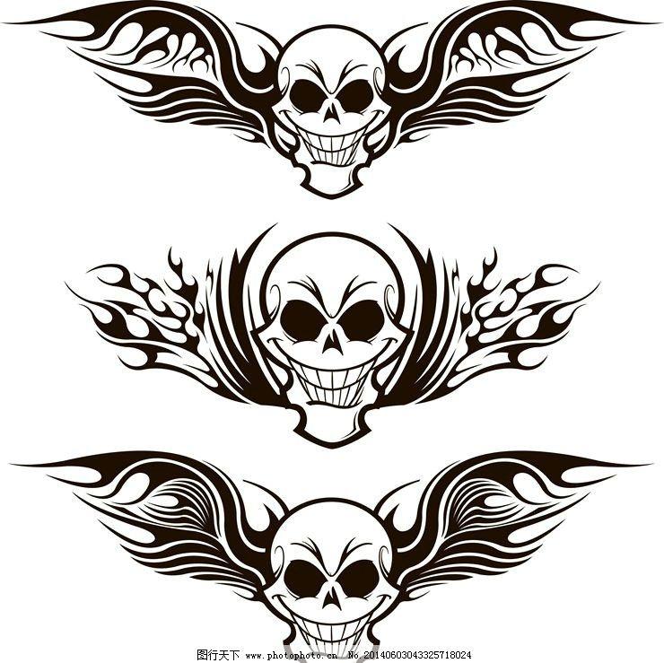 纹身花纹图腾图案 翅膀 骷髅头 纹身设计 纹身图案 欧美纹身 纹身样式图片