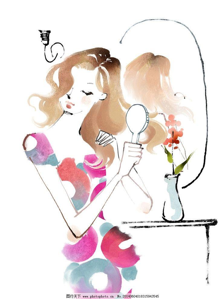 动漫人物 手绘 简约 动漫 梳妆台 美女 动漫动画 设计 300dpi jpg