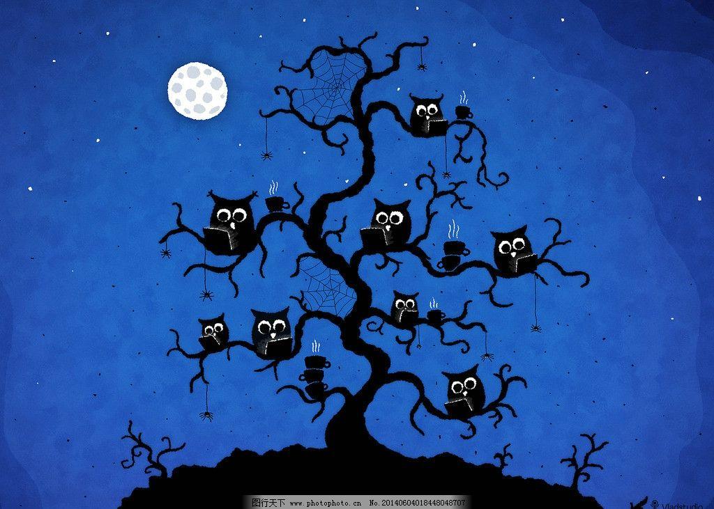 卡通猫头鹰壁纸图片