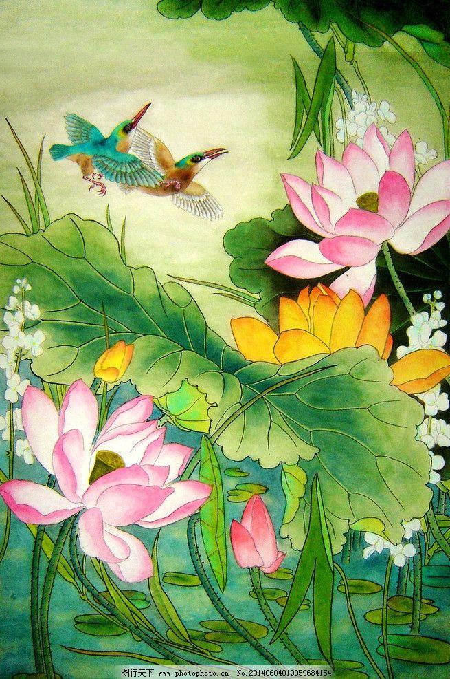 荷花 清新 绿色荷花 国画 油彩画 春天 绘画书法 文化艺术 设计 72dpi