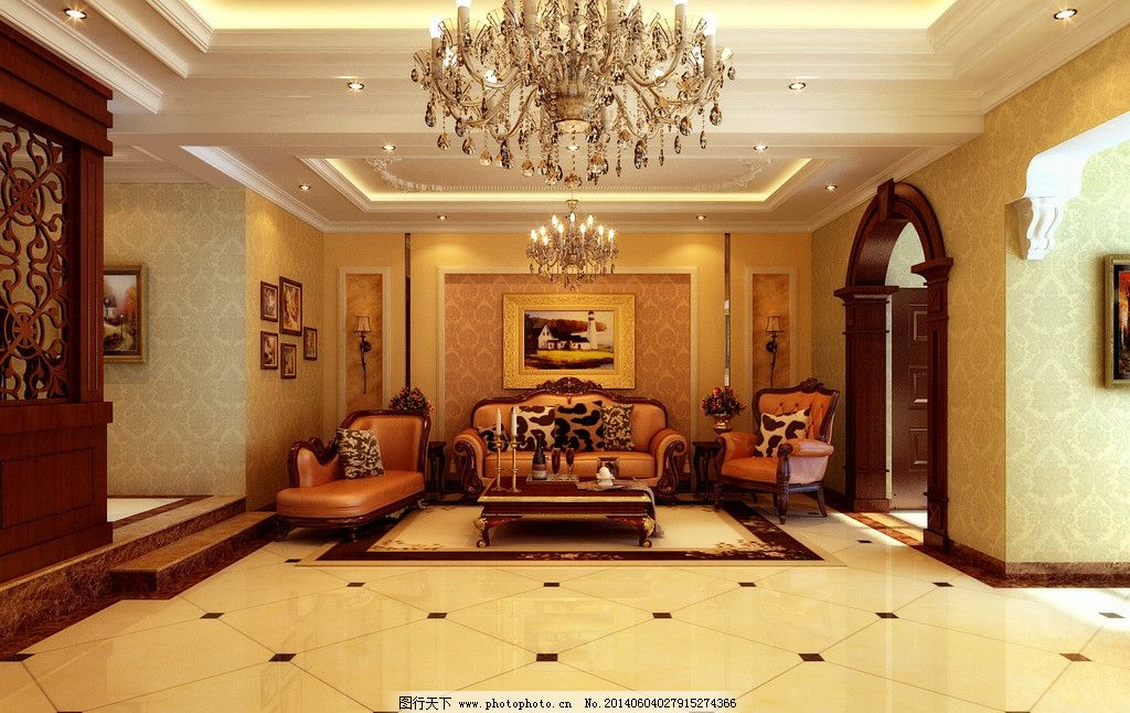 简欧客厅 沙发背景 欧式风格 欧式拱门 错层 室内效果图图片