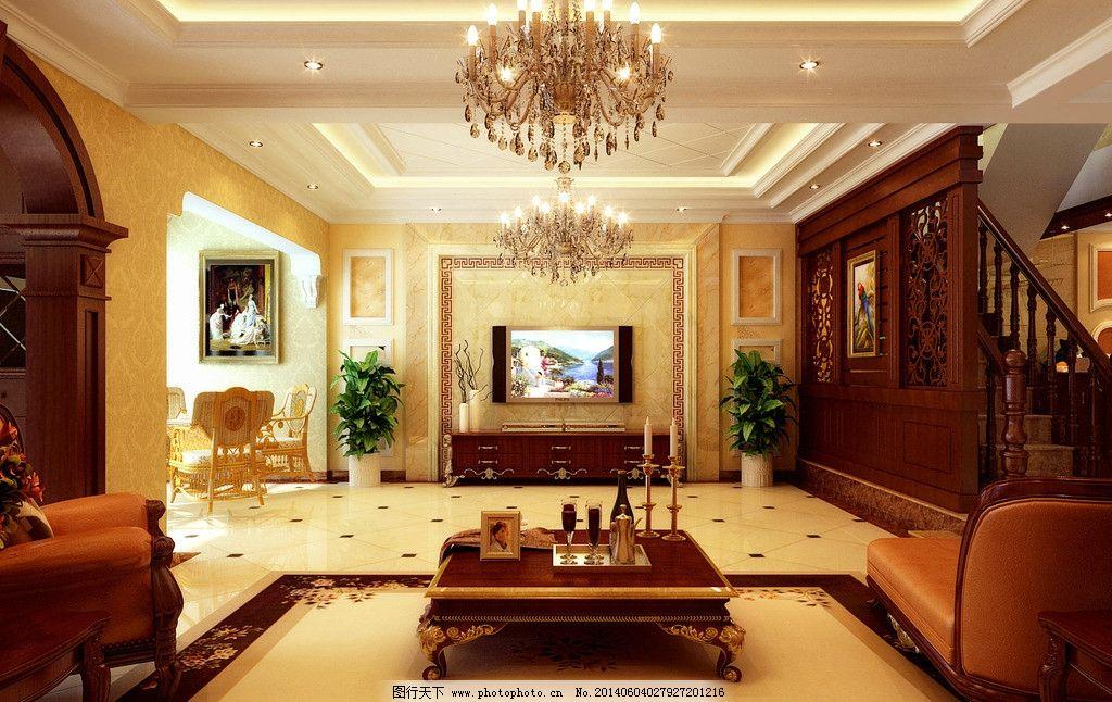 简欧      电视背景 欧式风格 欧式电视墙 错层 室内效果图 室内设计